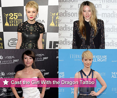 Aussie actresses Mia Wasikowska, Sophie Lowe, Emily Browning and Sophie Snook up for Lisbeth in The Girl With the Dragon Tattoo