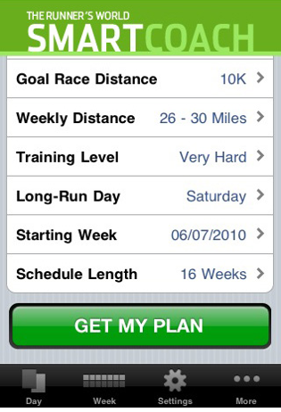 Runner's World SmartCoach iPhone App