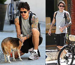 Pictures of John Mayer Petting a Dog in NYC