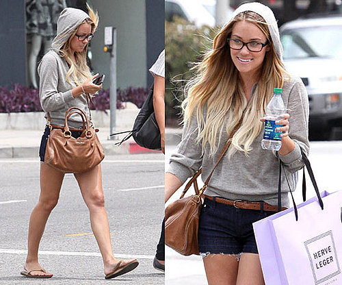 Lauren Conrad Shopping at Herve Leger in LA Wearing Vince Hooded Sweater and Tan Accessories 2010-07-27 10:00:22