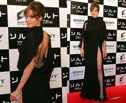 Pictures of Angelina Jolie at Salt Japan Premiere in Backless Slashed Leg Dress