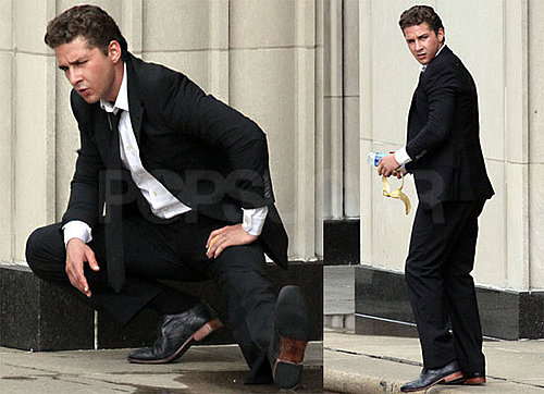 Pictures of Shia LaBeouf Wearing a Suit on the Chicago Set of Transformers 3