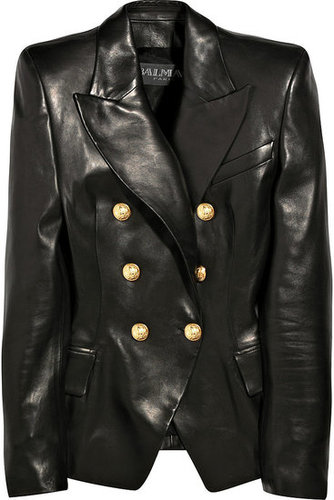 Balmain | Leather double-breasted jacket | NET-A-PORTER.COM 7555