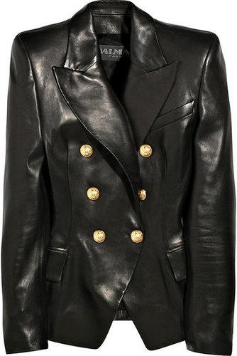 Balmain|Leather double-breasted jacket|NET-A-PORTER.COM 7555