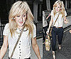 Photos of Ellie Goulding in Blouse, Blue Chinos and Lace Up Wedge Heels