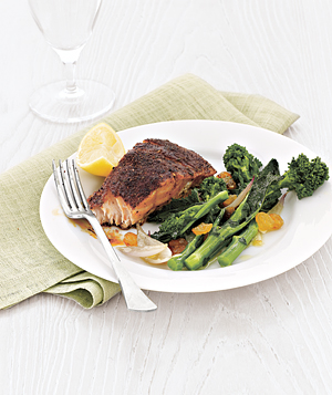 Fast And Easy Recipe For Blackened Salmon With Broccoli Rabe