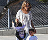 Slide Picture Of Jennifer Lopez With Max And Emme At the Park in LA