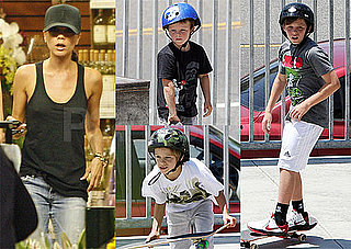 Pictures of Victoria Beckham Grocery Shopping and the Beckham Boys Skateboarding