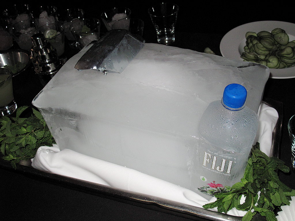 Jen Biesty shaved ice directly off this ice block, which she cleverly molded to include sponsor Fiji's bottle.
