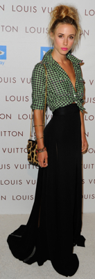 Gillian Zinser Wears Black Skirt and Plaid Shirt to Louis Vuitton Opening