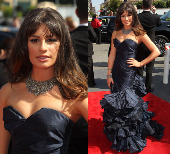 Lea Michele Wears Oscar de la Renta to 2010 Primetime Emmy Awards