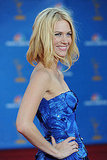 The tiered, textured detail on January Jones's blue Versace was out of this world.