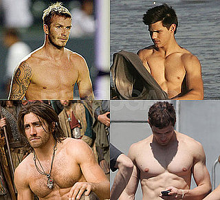 Shirtless David Beckham, Taylor Lautner, Kellan Lutz, and Jake Gyllenhaal in Bracket Final Four