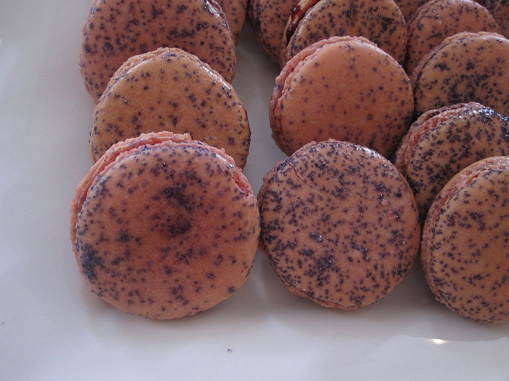 The glittery casis-flavored purple macaroons were from La Boulange bakery.