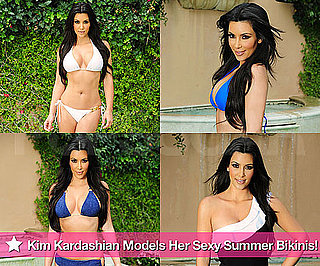 Pictures of Kim Kardashian Modeling Bikinis at the Pool