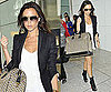 Photos of Victoria Beckham at Heathrow Airport in High Heels and Giant Bag
