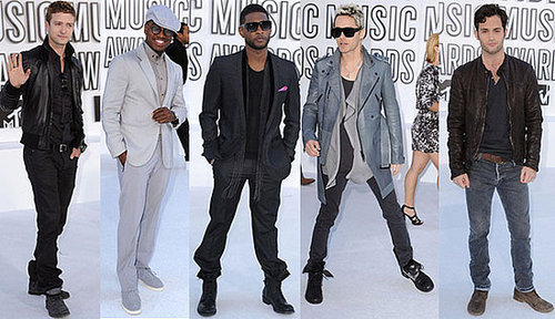 Penn Badgley, Usher, Justin Timberlake, Ne-Yo, and Jared Leto at 2010 MTV VMAs