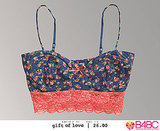 Mini ditsy printed bustier-style bralette with dainty adjustable spaghetti straps. A portion of proceeds from the sale of this bralette are donated to Boarding For Breast Cancer, B4BC.org.