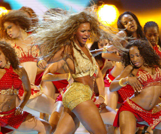"Beyonce made her debut as a solo artist iduring the show in 2003 where she performed ""Baby Boy"" and, when Jay-Z joined her on stage, ""Crazy in Love."""