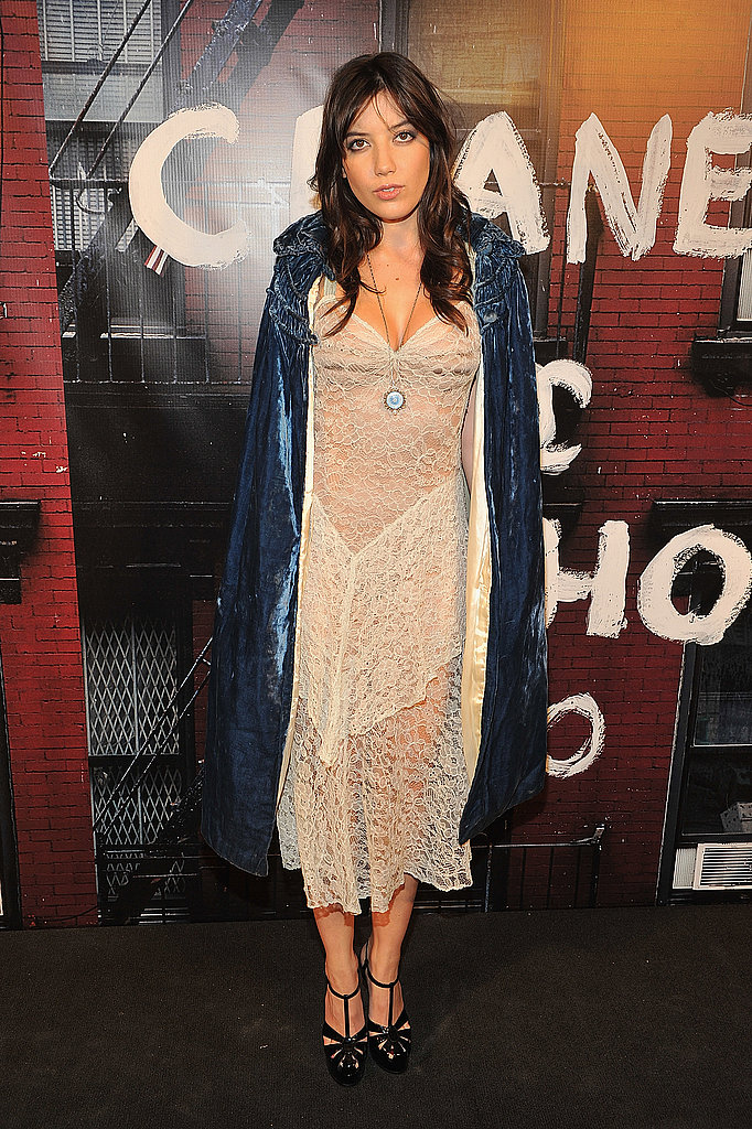 Daisy Lowe dons a velvety coat and lacy white for the celebration.
