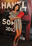 Chanel Iman shows off her pretty, red Chanel.