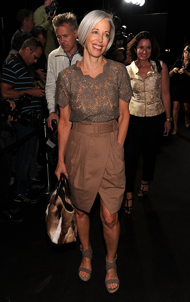 Bergdorf Goodman Fashion Director Linda Fargo stepped out in her utilitarian chic lace and neutrals.