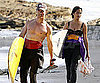 Slide Picture of Shirtless Matthew McConaughey and Camila Alves Surfing in Malibu
