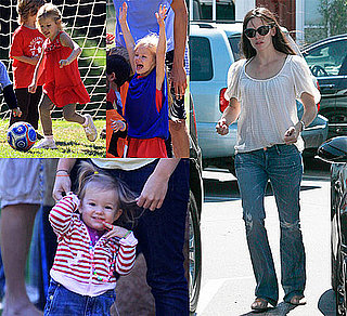 Pictures of Seraphina Affleck Cheering on Violet Affleck at Soccer Practice in LA and Running Errands With Jennifer Garner