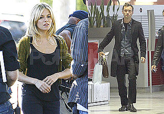 Pictures of Sienna Miller Shooting in LA and Jude Law at a Paris Airport