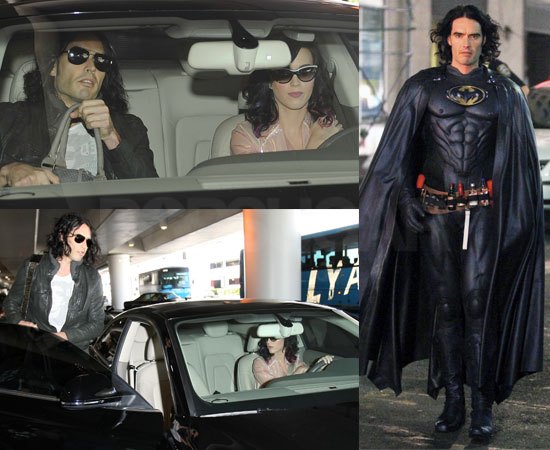 Pictures of Katy Perry and Russell Brand, And Russell Brand in a Batman Costume Filming Arthur on Last Day