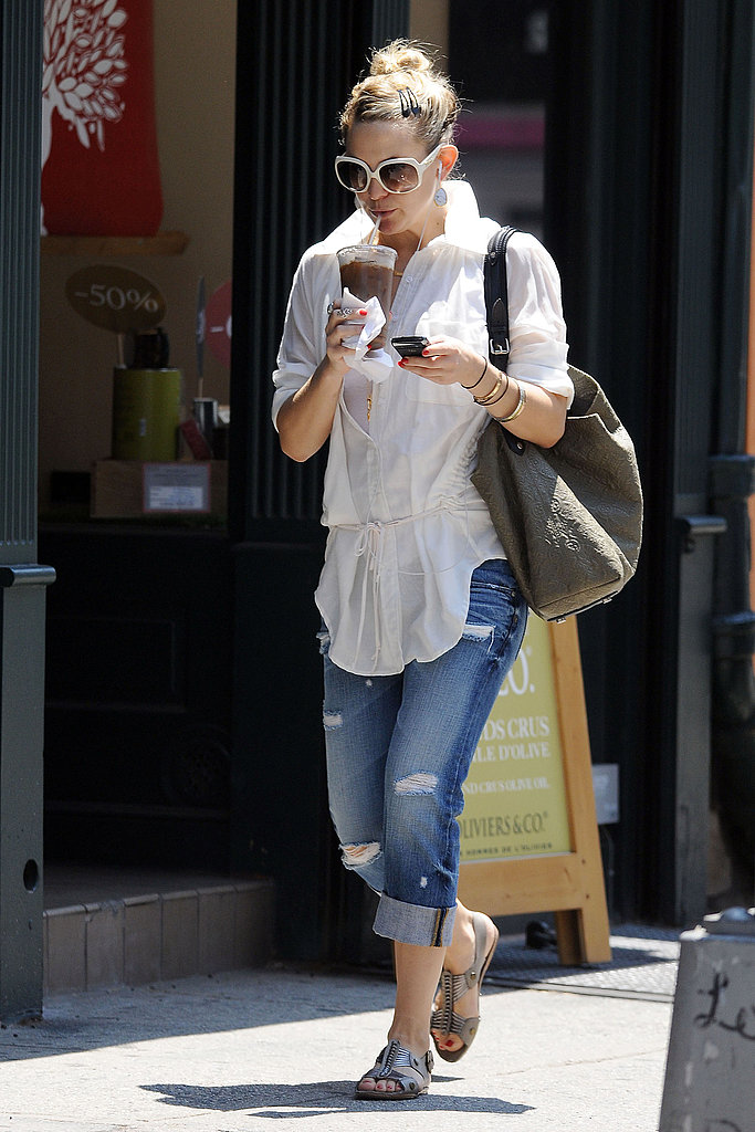 A simple coffee run requires a dazzling look. Love the white shades.