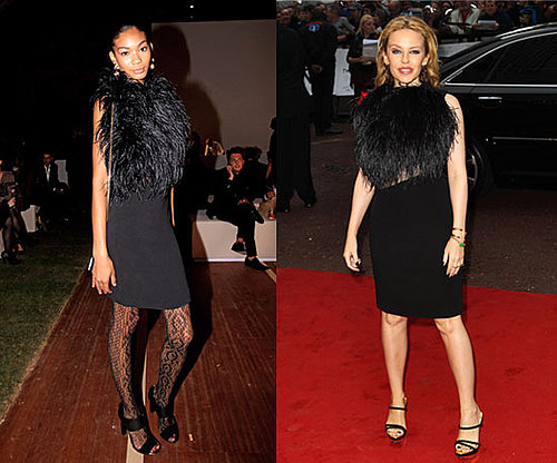 Chanel Iman and Kylie Minogue Wear Black Feather Gucci Dress