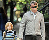 Matthew Broderick and James Wilkie Walking to School in NYC