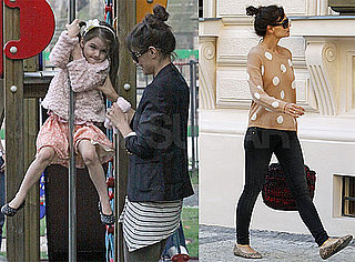 Pictures of Katie Holmes Walking Around Prague in Leopard and Polka Dots