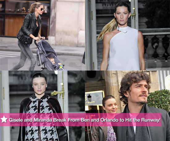 Pictures of Miranda Kerr and Gisele Bundchen Walking the Balenciaga Show in Paris