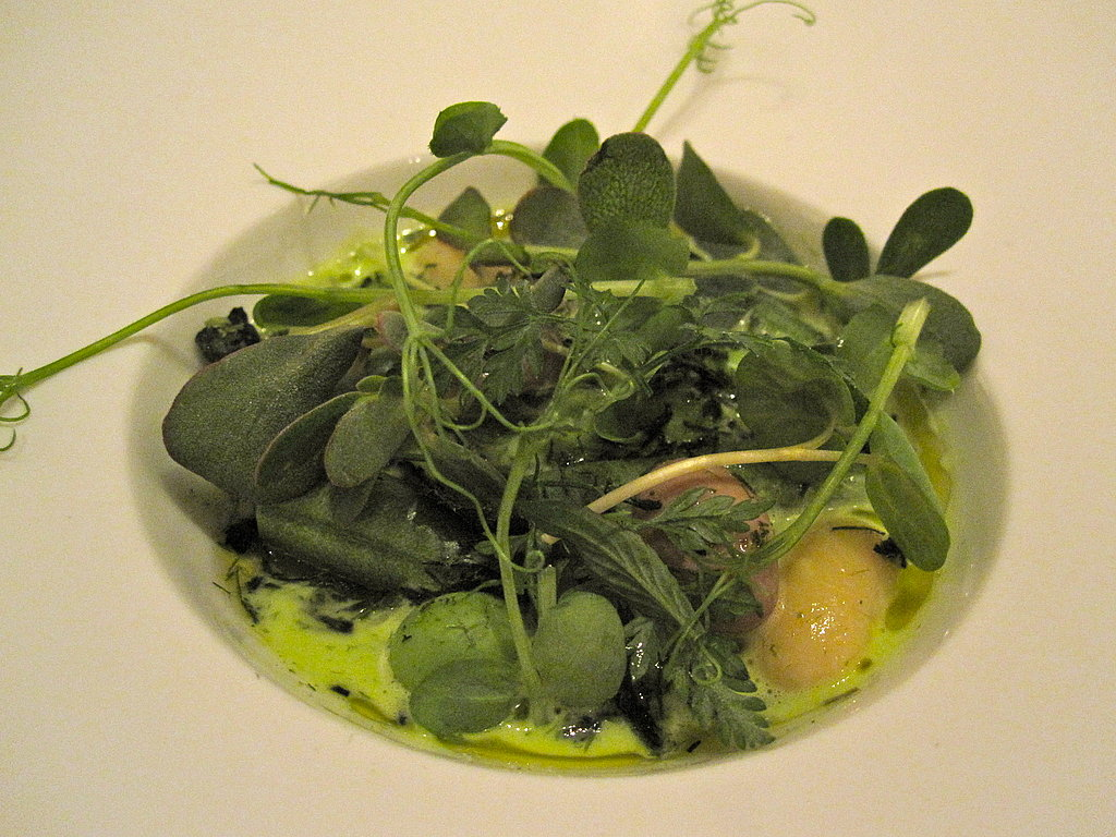 The first course was a springy and delicate salad of garden beans in various forms with river vegetables.