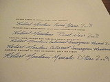 The menu was elegantly printed with the wine pairings handwritten in blue ink.