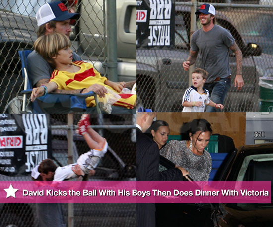 Pictures of David Beckham Playing Soccer With Romeo and Cruz Then Dining With Victoria
