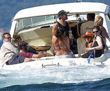 Brad Pitt, Jennifer Aniston, Matt Damon, and Luciana joined George Clooney for a boat ride on Lake Como, Italy, in June 2004.