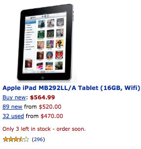 Apple iPad Selling at Amazon