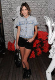 Alexa Chung's quirky-cool always inspires — her denim shirt and velvet shorties make a perfect Fall pair.