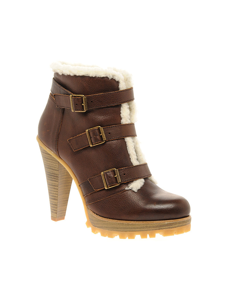Leather and Shearling Buckle High Ankle Boot ($144)