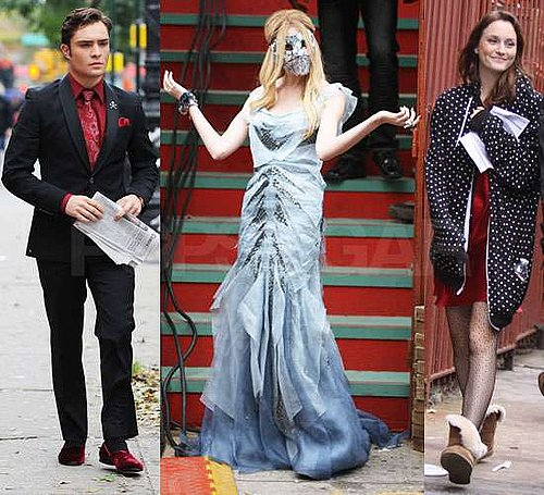 Pictures of Taylor Momsen Filming Gossip Girl Season Four Halloween Episode in Costume With Ed Westwick and Leighton Meester
