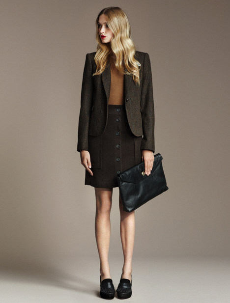Velveteen Skirt, ($40) Cashmere Sweater, ($90) Checked Wool Blazer, ($100) Moccasin Fringed Heels, ($139) Large Clutch, ($100)