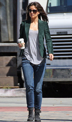 Pictures of Katie Holmes Walking on Set of Jack and Jill in LA