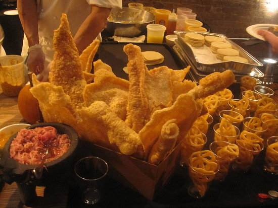 A beautiful display of fried pig skin.