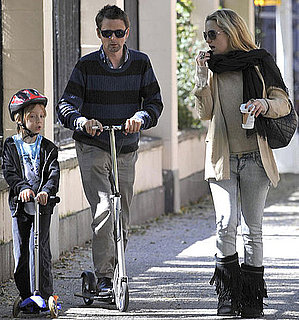 Pictures of Kate Hudson Walking With Ryder Robinson and Matthew Bellamy as They Ride Scooters