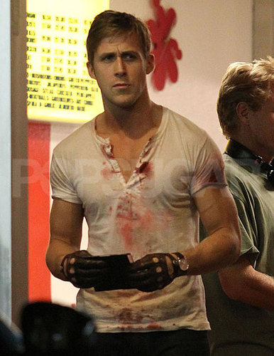 Pictures of Ryan Gosling Bloody and in Disguise On the Set of Drive in LA