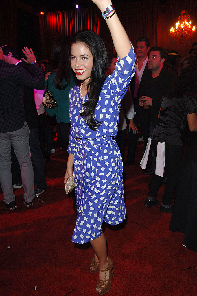 Party girl Jenna Dewan danced sexy but wore a demure print dress. Cute!