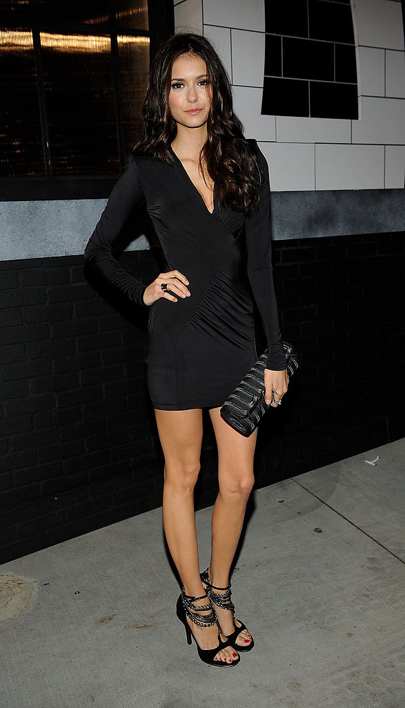 Nina Dobrev chose a curve-hugging Rock & Republic LBD.
